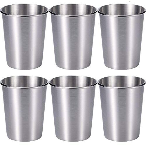 Skylety 6 Pack 7 oz Stainless Steel Cups Healthy Unbreakable Metal Drinking Glasses