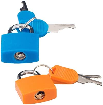 Homyl 2 kleine hangslot set met sleutels 2 paar bagage koffer reistas Mini Lock Accessoire Kit massief messing blauw oranje