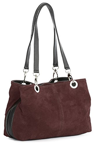 Big Handbag Shop Womens Small Multi Zip Pockets Suede Leather Shoulder Bag (3_MP Deep Red Blk) Lined Suede Shoulder Bag