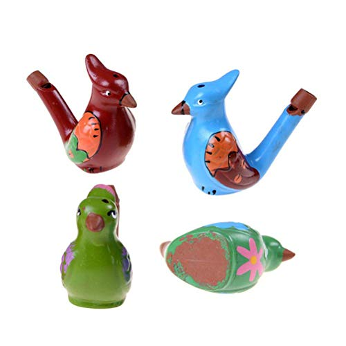 Dengguoli 4 Pack Ceramic Hand-Painted Water Birds Musical Whistle for Kids and Adults (Random Color) -
