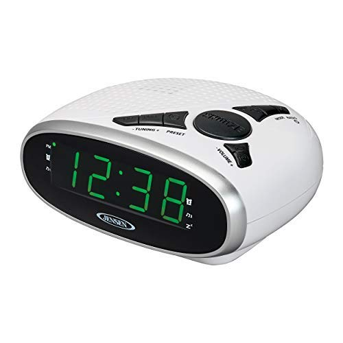 Jensen JCR-175W Digital AM/FM Clock Radio with Battery Backup, Dual Alarm,Sleep & Snooze Functions, 0.9-Inch Green LED Display AUX-in - White