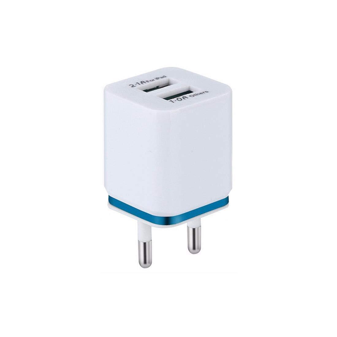 NoyoKere Cargador de tel/éfono m/óvil 2.1A Dual USB Phnom Penh Plating Enchufe de la UE Adaptador de Corriente de Pared Cabezal de Carga de Doble Puerto del Lado de Color