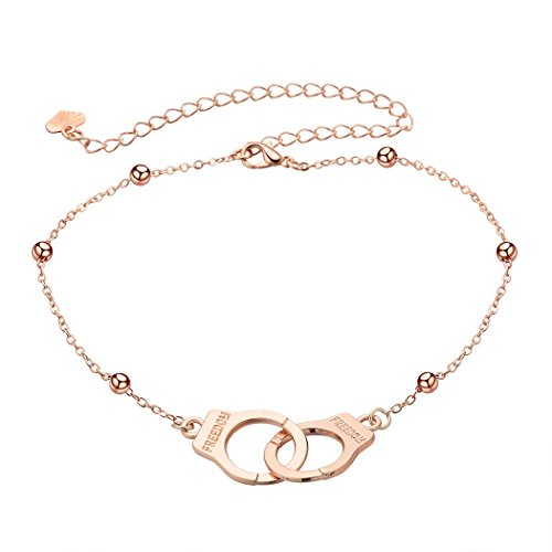 MUZHE Handcuffs Anklet - Gold Silver Handcuffs Anklet Women (GOLD)