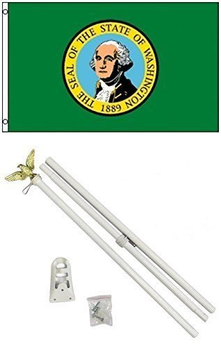 ALBATROS 3 ft x 5 ft State of Washington Flag White with Pole Kit Set for Home and Parades, Official Party, All Weather Indoors -