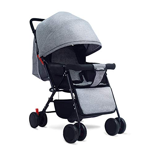 Lightweight Stroller Can Sit Reclining Portable 175 Degree Folding Umbrella Trolley Baby Car Fabric Removable Washable,Gray