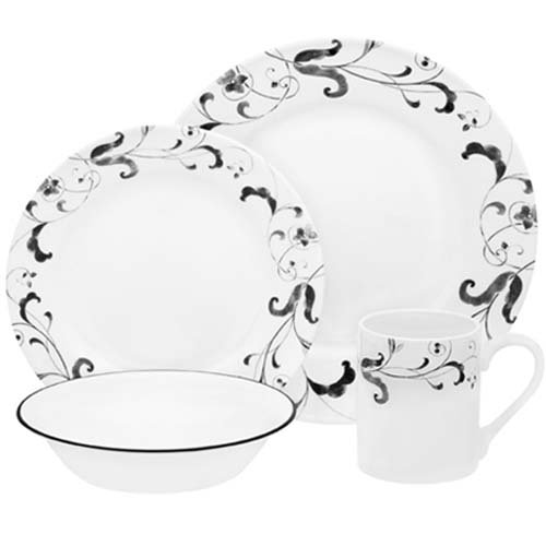 Corelle Impressions 16-Piece Set, Service for 4, includes 4 each 10 3/4-inch Dinner Plates, 8 1/2-inch Luncheon Plates, 18-ounce Soup/CerealBowls, 11-ounce Stoneware Mugs, Faenza
