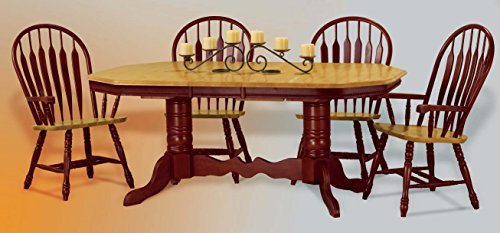 Sunset Trading 5 Piece Double Pedestal Trestle Butterfly Leaf Dining Set with Arm Chairs Double Butterfly Leaf