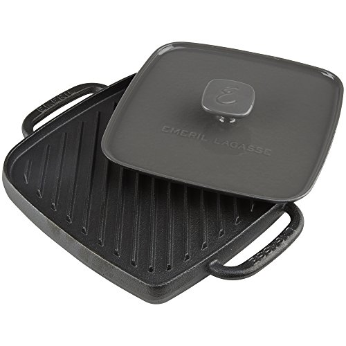 - Emeril Lagasse 63058 Pre-Seasoned Cast Iron Single Burner Reversible Grill Griddle with Large Grill Press, Black, Gray