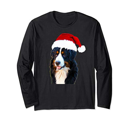 Bernese Mountain Dog Santa Hat | Cool Long Sleeve T-Shirt