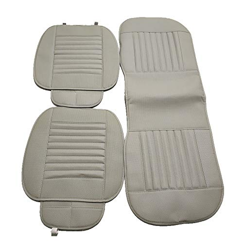 - 1 Set Breathable PU Leather Bamboo Car Seat Cover Pad Mat for Auto Chair Cushion (Gray)