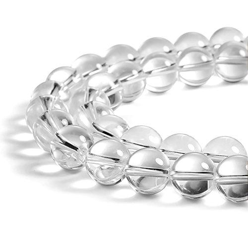 White Quartz Gemstone (BEADNOVA 10mm Clear White Crystal Rock Quartz Gemstone Round Loose Beads for Jewelry Making (38-40pcs))
