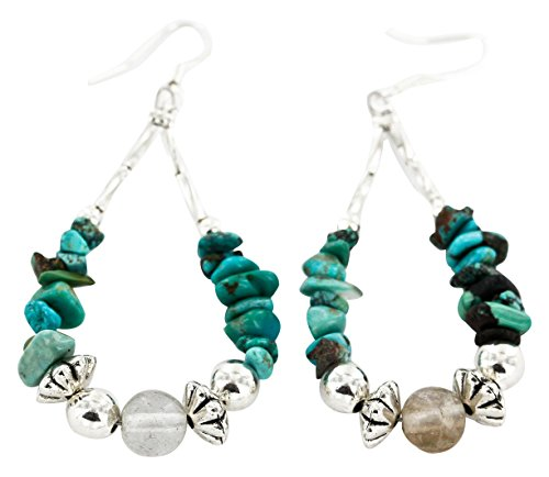 Native-Bay Authentic Made by Charlene Little Navajo Silver Hooks Natural Turquoise and Quartz American Earrings