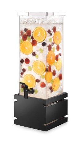 Rosseto LD121 Acrylic Square Beverage Dispenser with Black Gloss Bamboo Base, 2-Gallon Capacity, 6-3/4