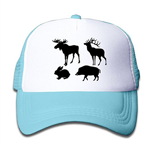 Elk Cap - Elk Deer Wild Boar Hare Silhouettes Kids Girls Boys Adjustable Mesh Cap Snapback Mesh Baseball Hat Trucker Hat