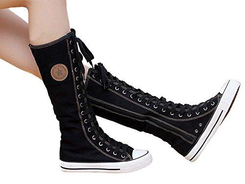 Wealsex Bailar Botas de Lona de Zapatos Deporte Zapatos Cordones de Cañón Largo Zapatos Para Mujer Negro Blanco negro