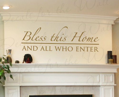Entry Adhesive (Bless This Home and All Who Enter - Entryway Welcome Home Entry - Decorative Adhesive Vinyl Lettering Quote, Wall Decal Art, Sticker Decor, Saying Decoration)