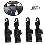 4 Pack Car Seat Headrest Hooks by Lebogner - Strong and Durable Backseat Headrest Hanger Storage for Handbags, Purses, Coats, and Grocery Bags, Universal Vehicle Car Seat Back Headrest Bottle Holder