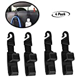 lebogner 4 Pack Car Seat Headrest Hooks By Strong And Durable Backseat Headrest Hanger Storage For Handbags, Purses, Coats, and Grocery Bags, Universal Vehicle Car Seat Back Headrest Bottle Holder