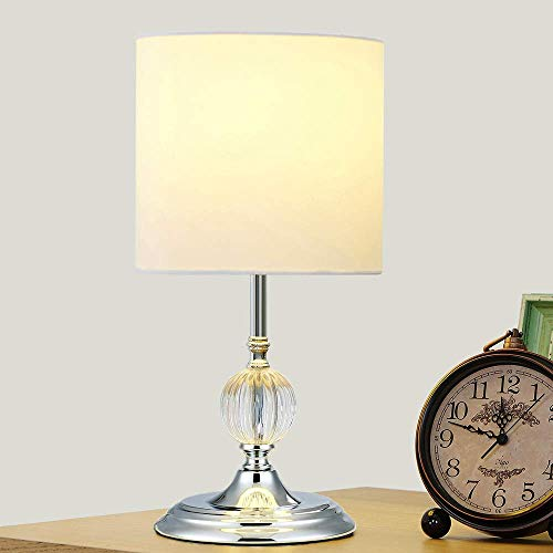- Cuaulans Modern Design Table Lamp, Round White Shade Table Lamps for Living Room, Dining Room, Bedroom, Chrome Finish