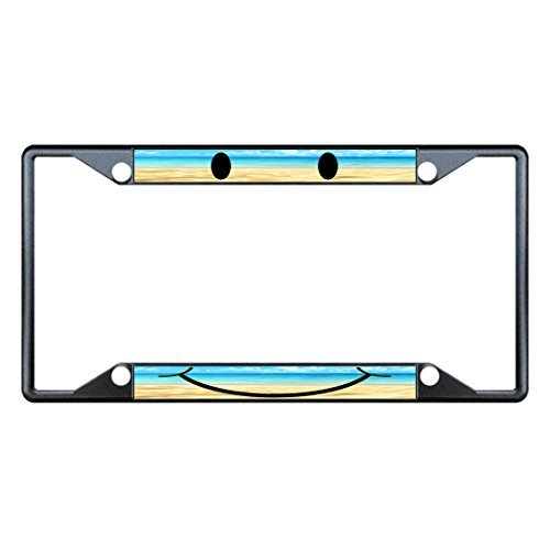 Sheepdog License Plate Frame - License Plate Covers Beach And Smiley Face Black Metal License Plate Frame Tag Holder Four Holes