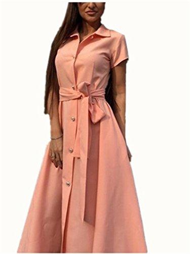 Vestidos Mujer YOGLY Vestidos de Mujer, Vestido de camiseta,Vestido Verano Moda Colores Lisos, Talla Grande Rosa