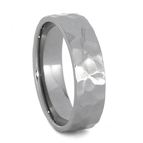 Hammered 7mm Comfort-Fit Brushed Titanium Wedding Band, Size 12.75