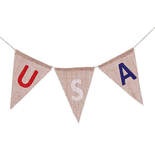 MTENG American Independence Day Party Flags U.S. National Day Burlap Banner 4th of July Decorations Celebration Red White and Blue Theme Party Supplies ()