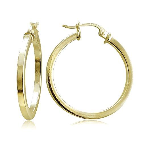 Hoops & Loops Flash Plated Gold Sterling Silver 2mm High Polished Square Hoop Earrings, 30mm (10k Gold Tone Earrings)
