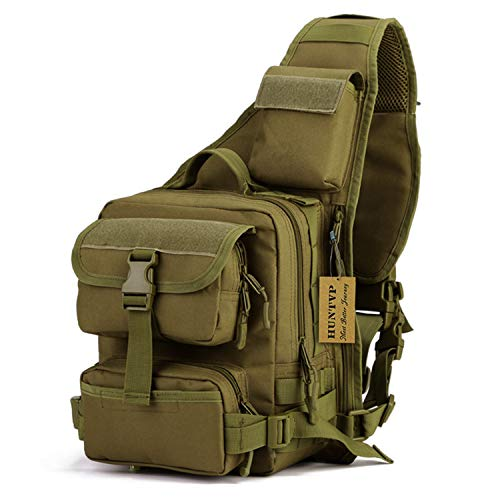 (Huntvp Tactical Military Daypack Sling Chest Pack Bag Molle Backpack Large Shoulder Bag Crossbody Duty Gear for Hunting Camping Trekking)