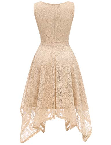 Hem Dressystar Floral V Swing Dress Cocktail Handkerchief Dress Lace Women's Champagne Formal Neck 8Xqw8r