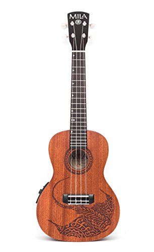 Mila Guitars Mahogany Series Acoustic-Electric Concert Ukulele with Manta Ray Etching