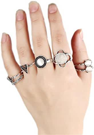 SUNSCSC Vintage Turquoise Rhinestone Opals Above Knuckle Stacking Band Midi Mid Ring Set of 6 Pcs