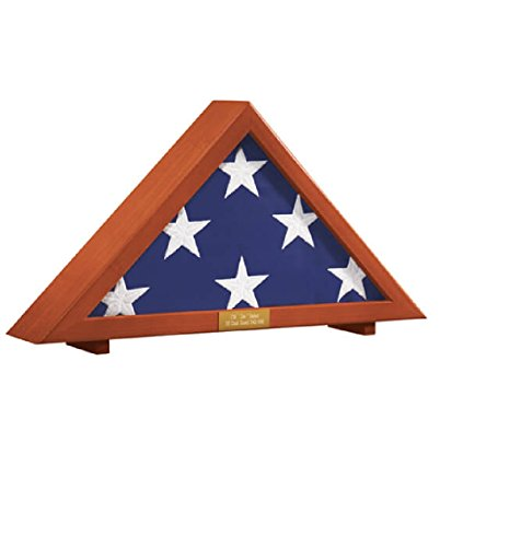 (Flag Display Case Memorial with Personalized Brass Plaque 24 1/2
