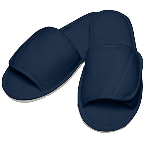 Towel City Open Toe Slippers With Hook And Loop Strap Navy Tq2uJChebr