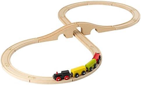IKEA Lillabo Wooden Train Set 20 Pieces Track Bridge Cars Multi Color New Sealed