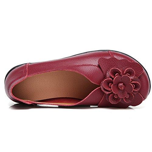 Flat Driving Slippers LINGTOM 01 Casual on burgundy J Moccasin Slip Women Loafer Shoes Girls for 4qUAIxU