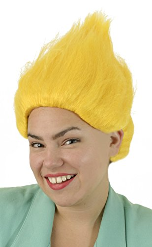 Yellow Troll Wig | Unisex Troll Doll Costume Hair for Adults, Kids, Men, Women, Cosplay -