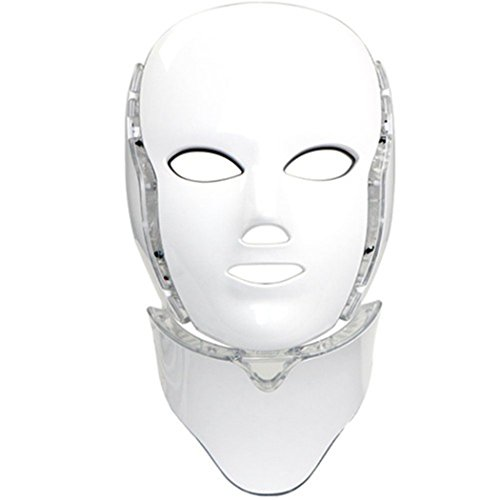 LED Photon 7 Color Light Therapy Mask with Neck | Face Beauty Skin Care...