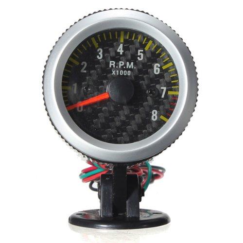 New Car Auto Yellow LED Rev Tachometer Gauge RPM Carbon Fiber Face by Bcn