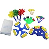 Ogrmar 7 Styles Mini Painting Foam Sponge Brush Kids Painting Tools Early DIY Learning/ Kids Painting Learning (Multicolor)