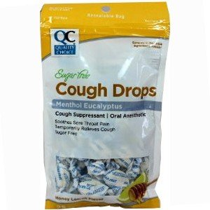 Quality Choice Cough Drops Menthol Eucalyptus Honey Lemon Flavor Sugar Free 30 Drops Each (Pack of 1)