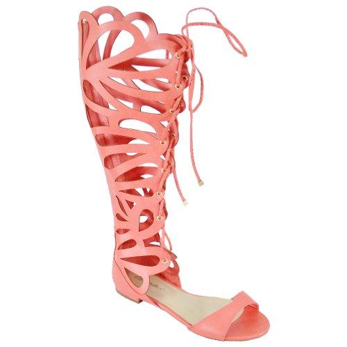 Breckelle Women's Solo-15 Gladiator Sandals, Peach