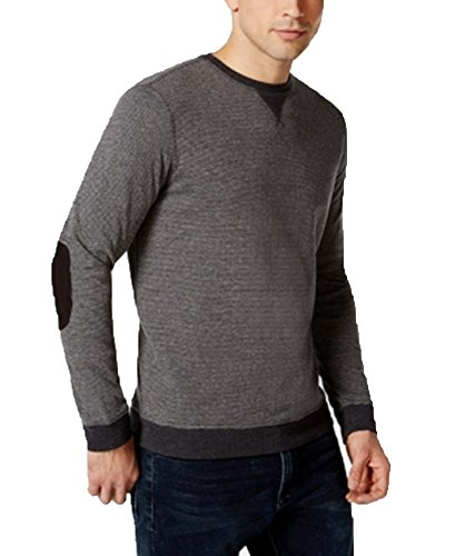 Tasso Elba Reverse Strip Crew Shirt, Only at Macy's (Large, Charcoal)