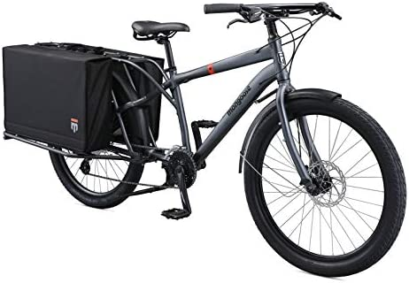 Mongoose Envoy Cargo Bike with 26-Inch Wheels in Grey, with 8-Speeds, Shimano Drivetrain, Aluminum Cargo Frame, Internal Cable Routing, Mechanical Disc Brakes, and Center Kickstand
