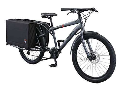 Photo Mongoose Envoy Cargo Bike with 26-Inch Wheels in Grey, Small/Medium Frame, with 8-Speeds, Shimano Drivetrain, Aluminum Cargo Frame, Internal Cable Routing, Mechanical Disc Brakes, and Center Kickstand
