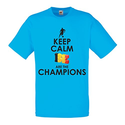 T Shirts for Men Belgians are The Champions - Russia Championship 2018, World Cup Soccer Team of Belgium Fan Shirt (Medium Blue Multi Color)