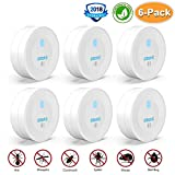 BASA Ultrasonic Pest Repeller 6 Pack, Pest Control Ultrasonic Repellent Plug In Indoor Outdoor Non-toxic Bug Repellent with Night Lights for Mice, Cockroaches, Bugs, Fleas, Spiders, Ants