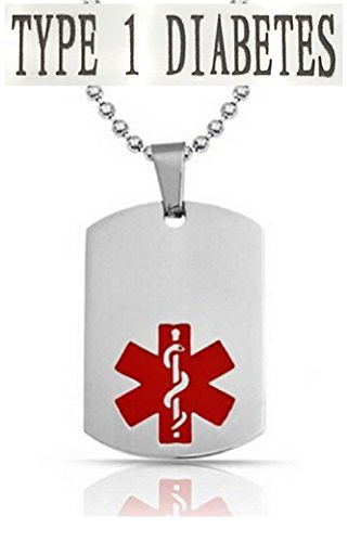 TYPE 1 DIABETES Medical Alert Engraved Dog Tag With 22 Chain - All Stainless Steel