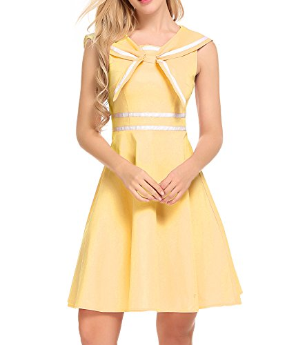 School Up Girls Dress (Zeela 1940s Vintage Casual Style Cute Back Pullover Fit and Flare Sailor Moon Dress)