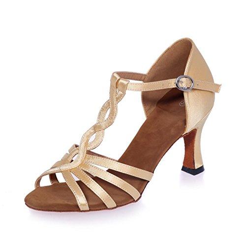 L@YC Zapatos Latinos De La Danza De Las Mujeres PU Con La Hebilla Interior De Los 7.5cm Nude / Yardas Grandes Multicoloras Gold